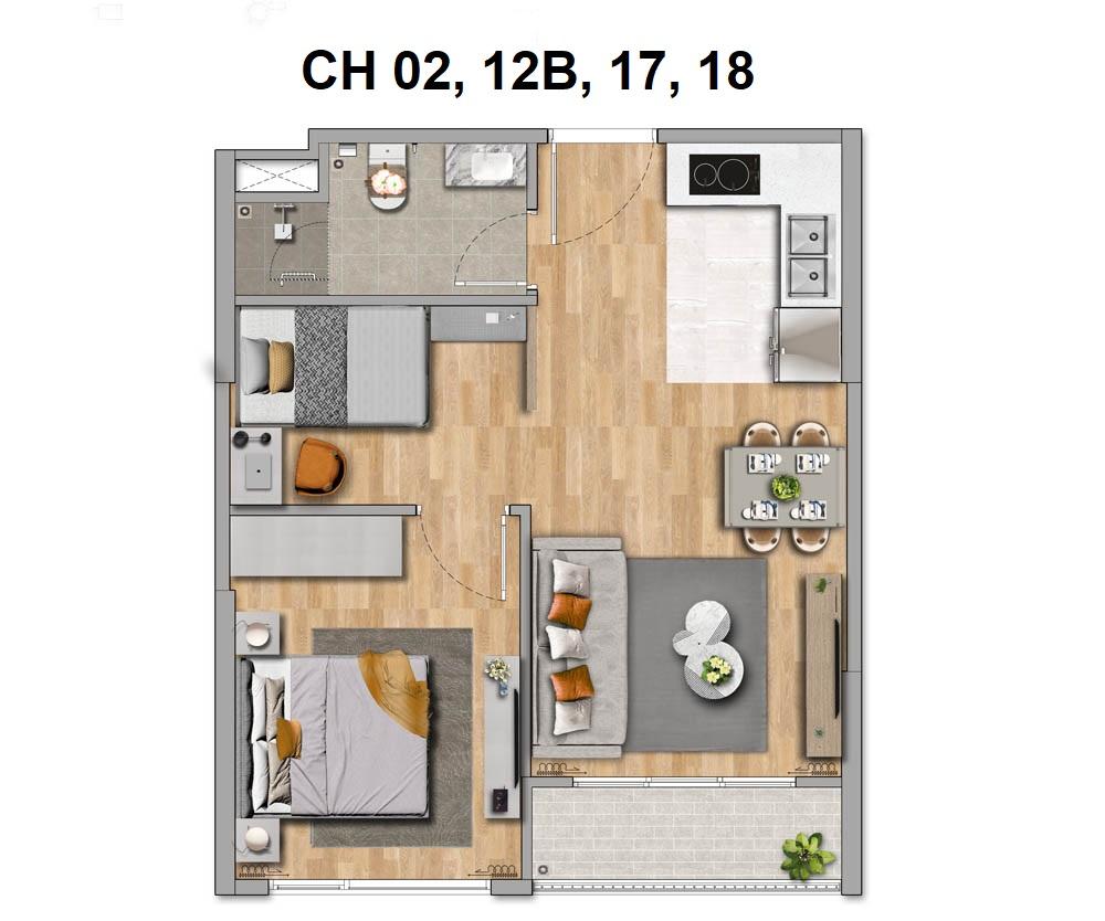 Thiết kế căn hộ 1 phòng ngủ (1PN+1)