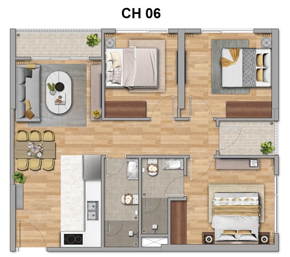 Thiết kế căn hộ 3 phòng ngủ (3PN)