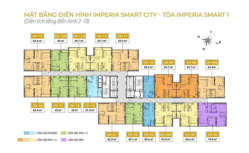 mặt bằng chung cư imperia smart city tòa IS1 tầng 2-10