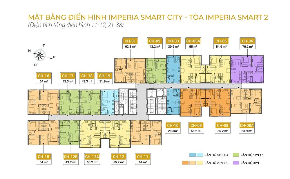 mặt bằng chung cư imperia smart city tòa IS2 tầng 11-19 21-38