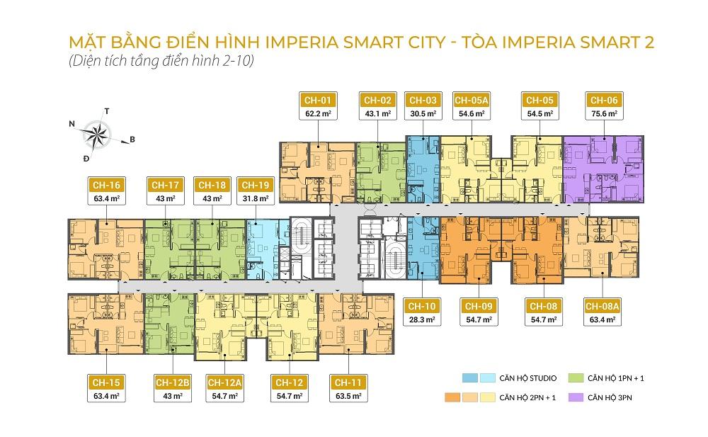 mặt bằng chung cư imperia smart city tòa IS2 tầng 2-10