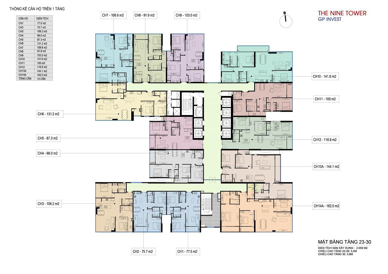 mặt bằng dự án the nine tower tầng 23-30