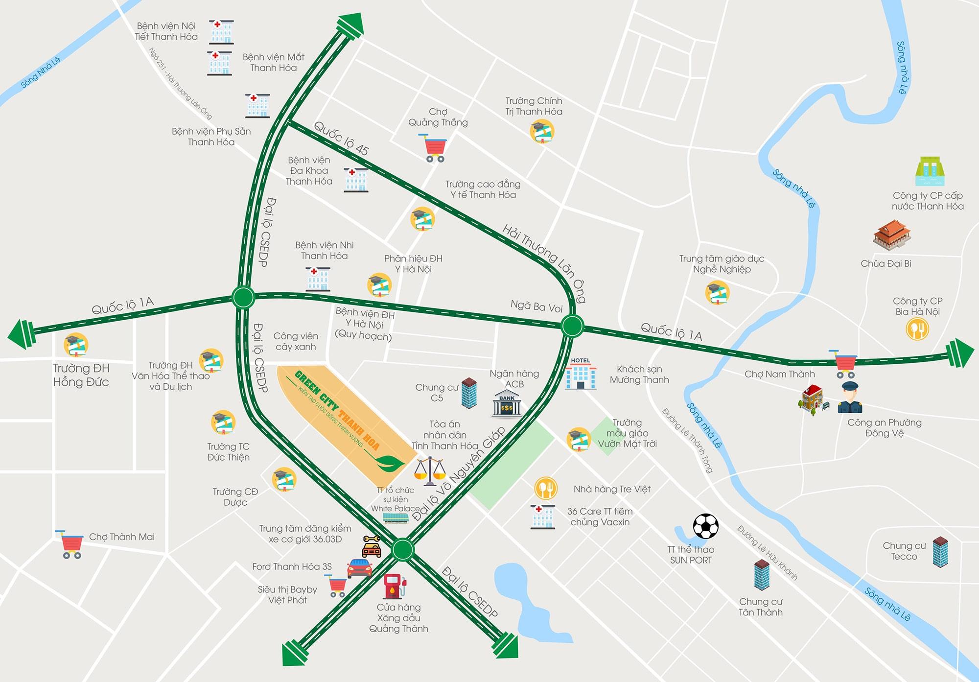 vị trí dự án green city thanh hóa
