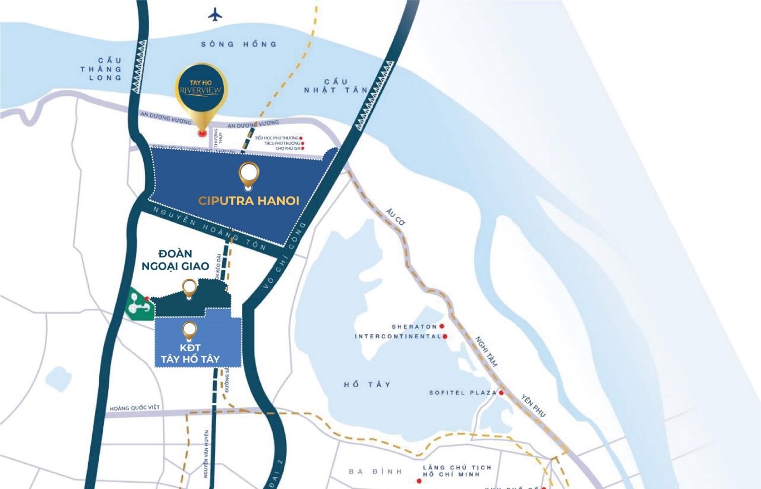 vị trí dự án tây hồ riverview