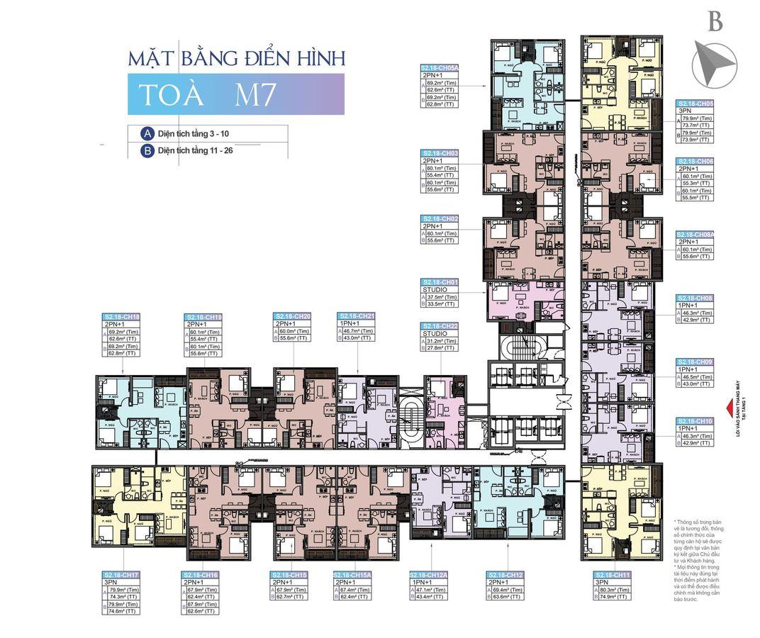 mặt bằng chung cư masteri waterfront tòa m7