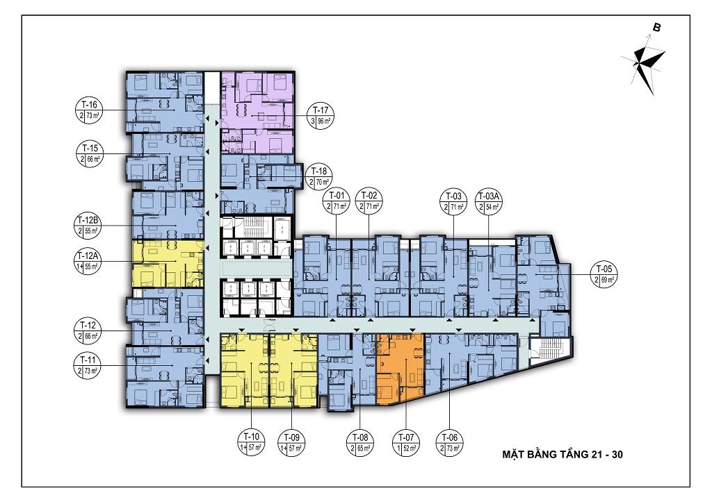 mặt bằng chung cư park view city tầng 21-30