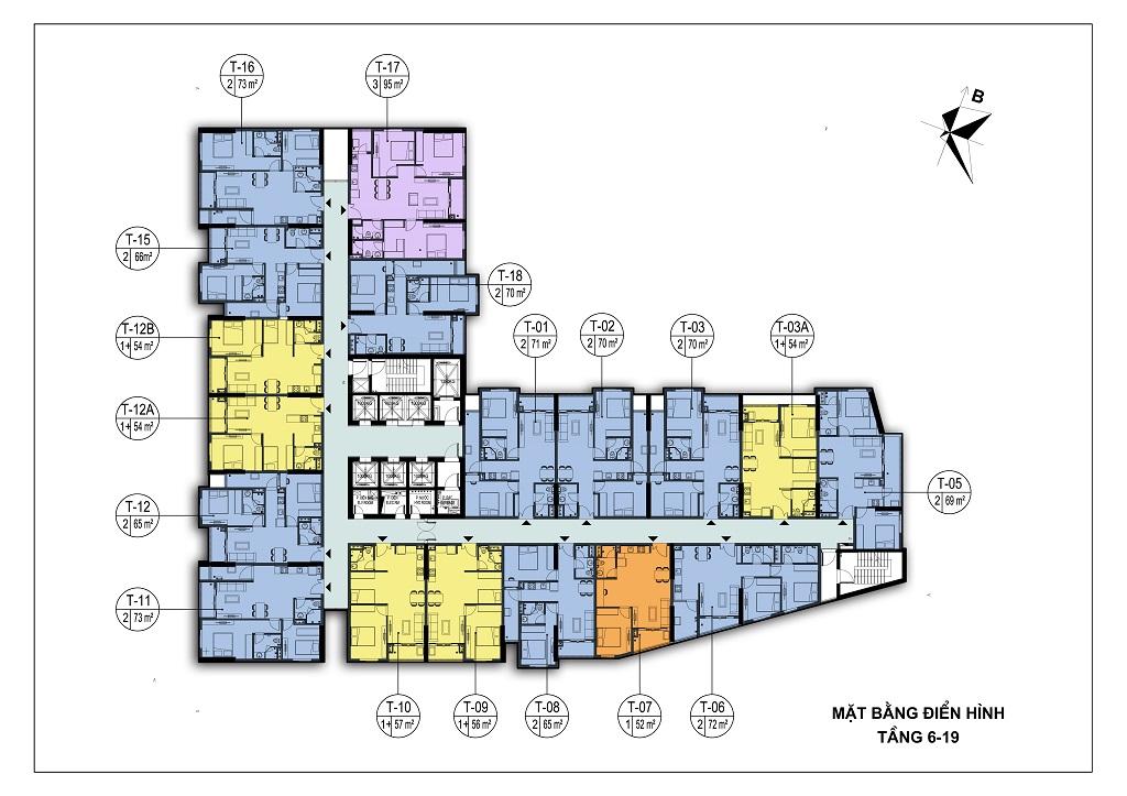 mặt bằng chung cư park view city tầng 6-19