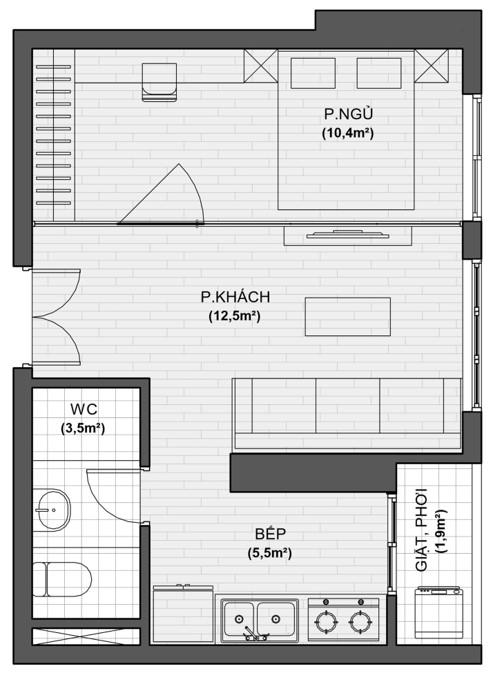 thiết kế chi tiết căn hộ 1 ngủ