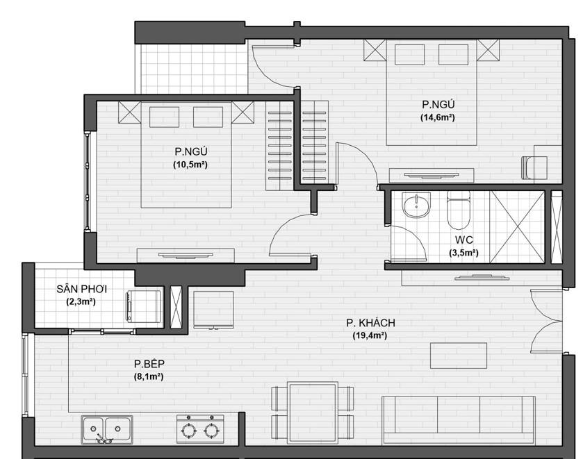 thiết kế chi tiết căn hộ 2 ngủ