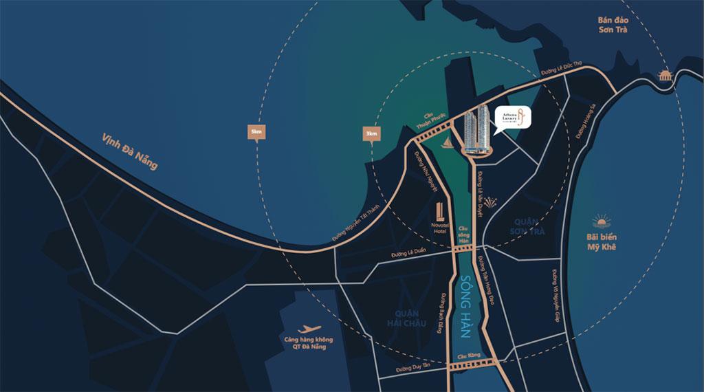 vị trí dự án athena luxury đà nẵng riverside