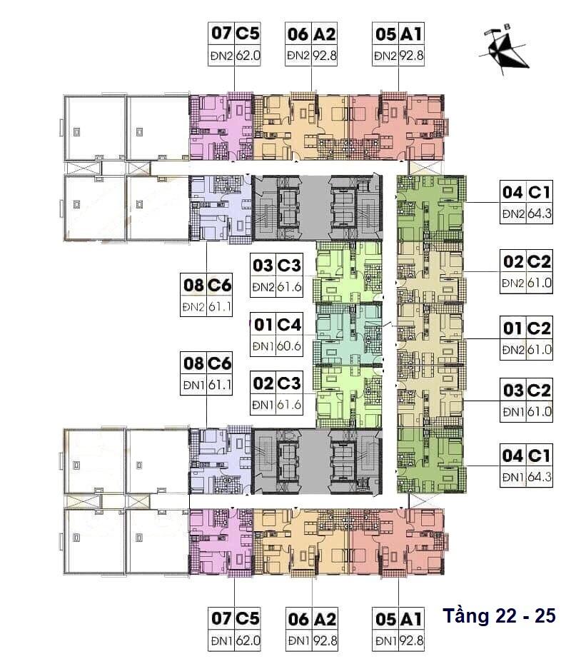 mặt bằng chung cư geleximco southern star giải phóng tầng 22 - 25