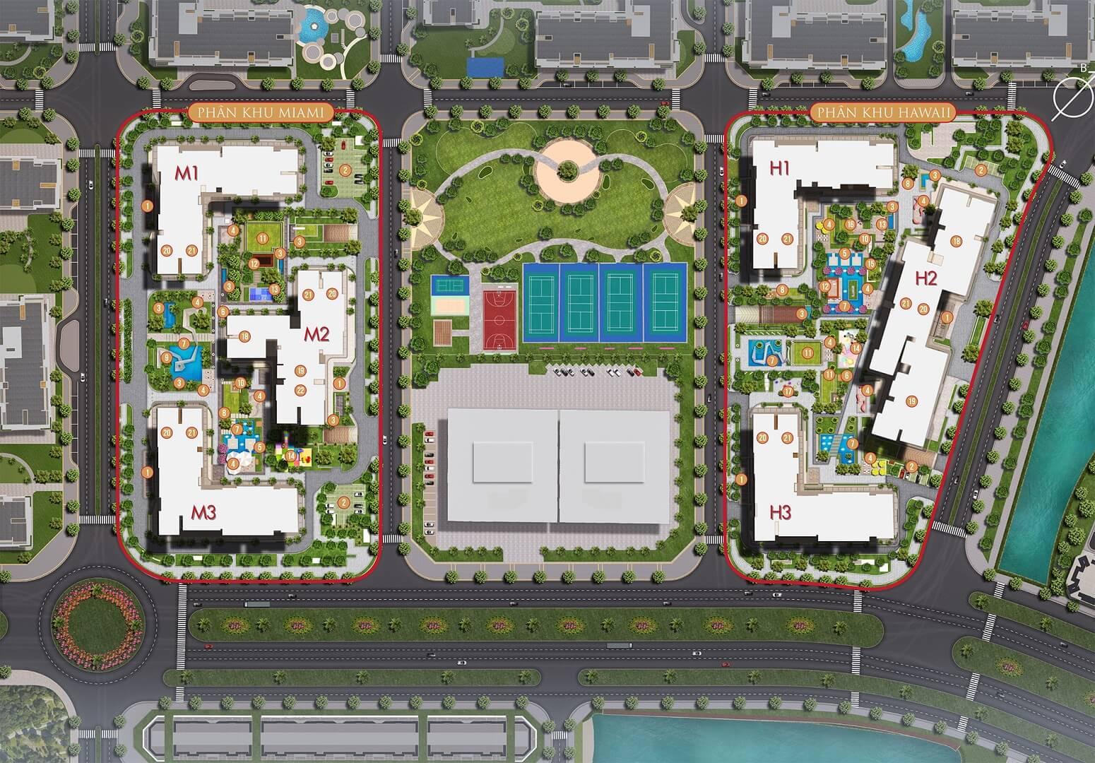 mặt bằng tổng thể dự án masteri waterfront ocean park