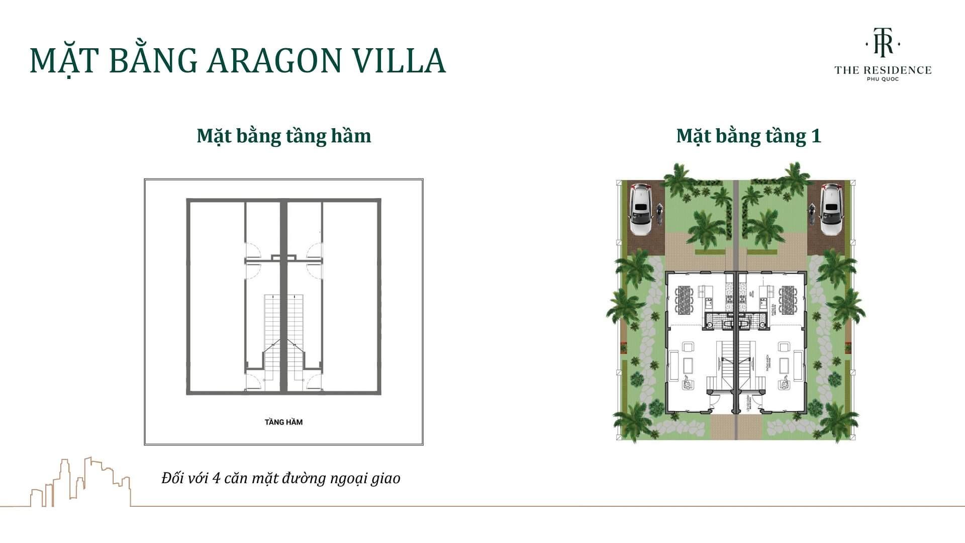 mặt bằng villa aragon