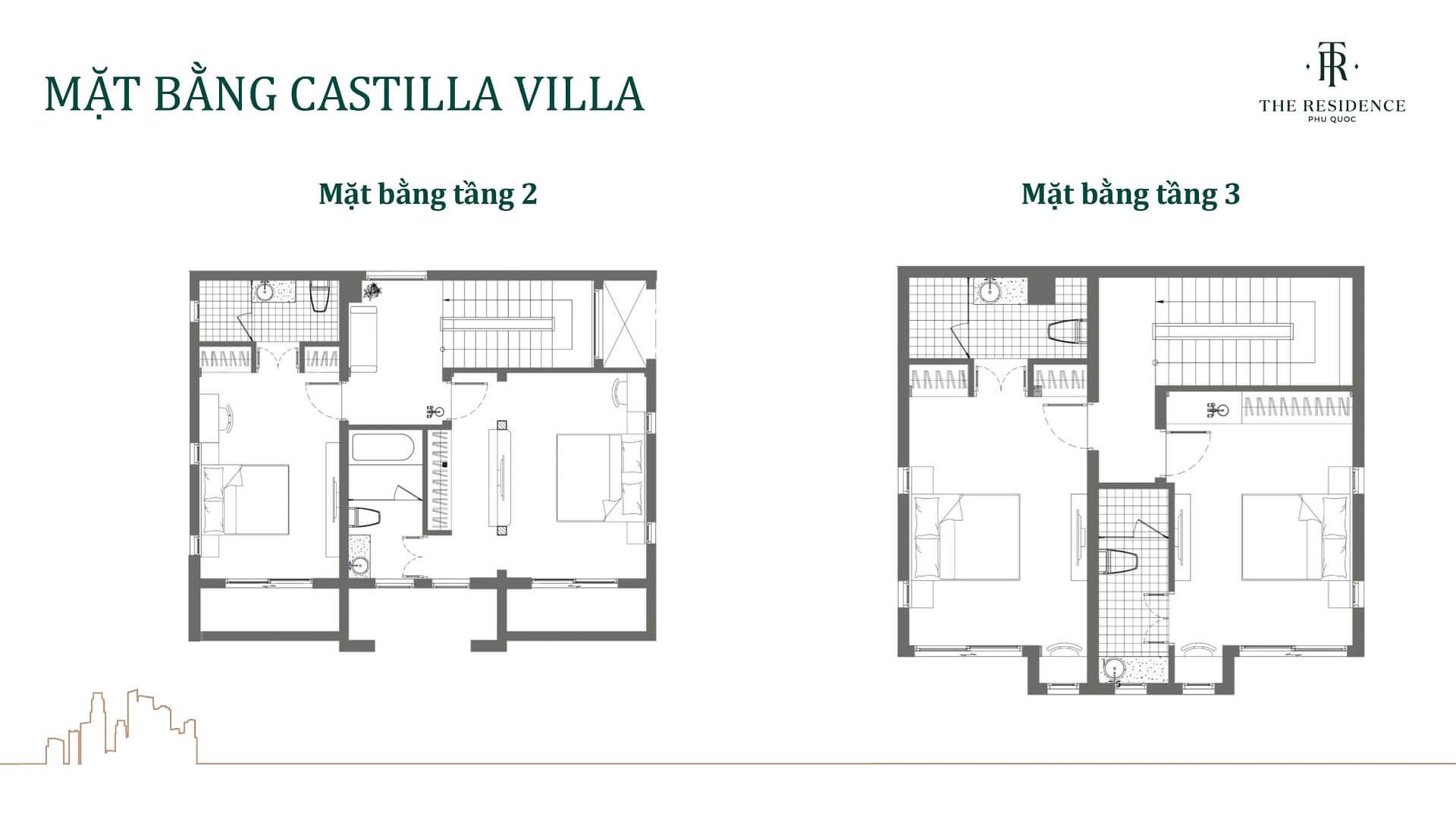 mặt bằng biệt thự castilla