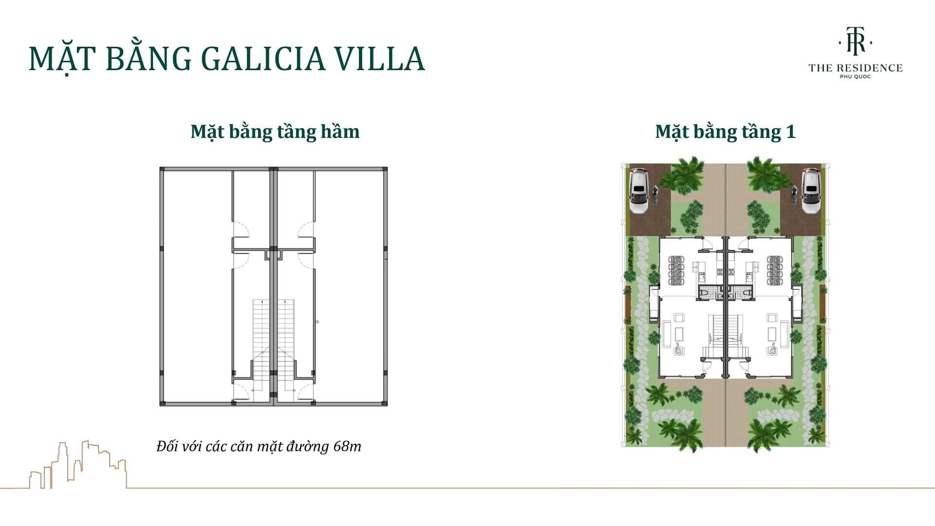 mặt bằng biệt thự galicia