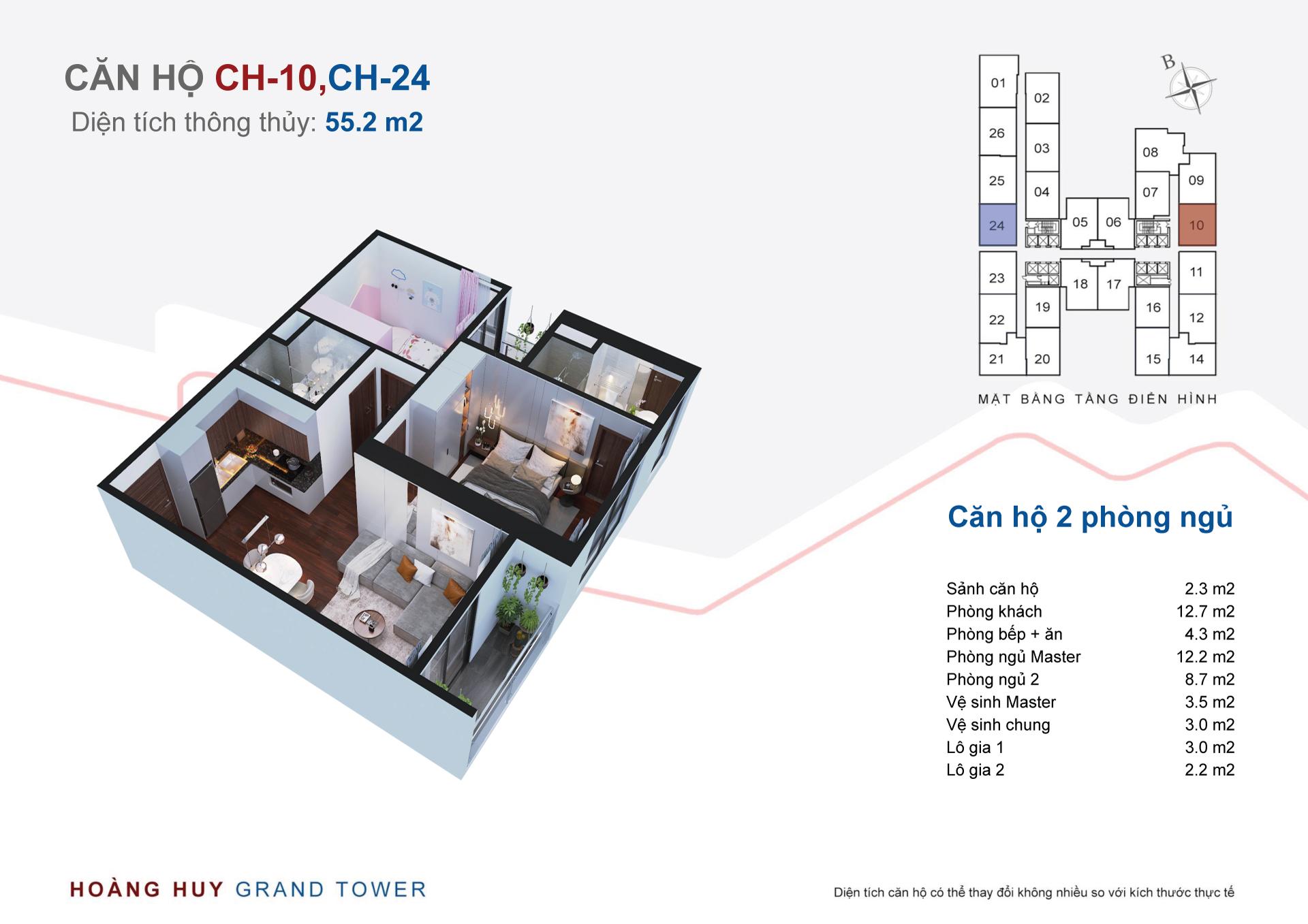 thiết kế căn hộ hoàng huy grand tower