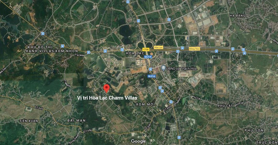 vị trí dự án đất nền hòa lạc charm villas