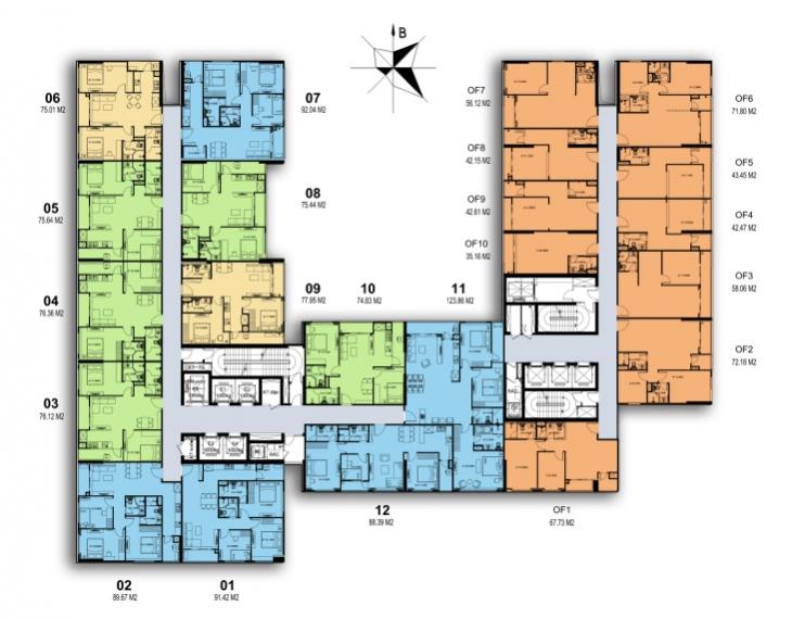 mặt bằng chung cư harmony square tầng 5