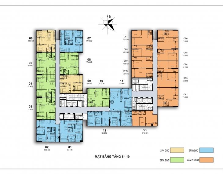 mặt bằng chung cư harmony square tầng 6-10