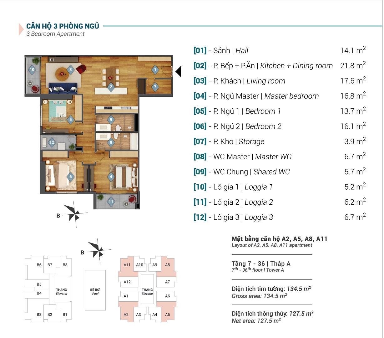 Mặt bằng căn hộ A2, A5, A8, A11 tòa A Sky Park Residence
