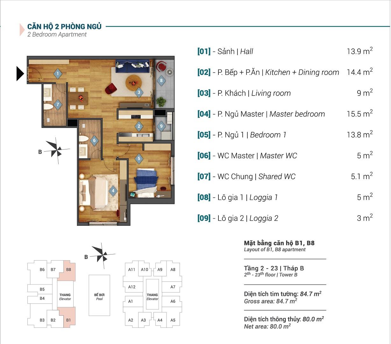 Mặt bằng căn hộ B2, B7 tòa B chung cư Sky Park Residence