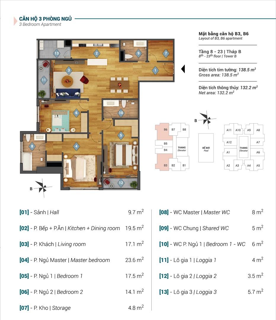Mặt bằng căn hộ B3, B6 tòa B chung cư Sky Park Residence
