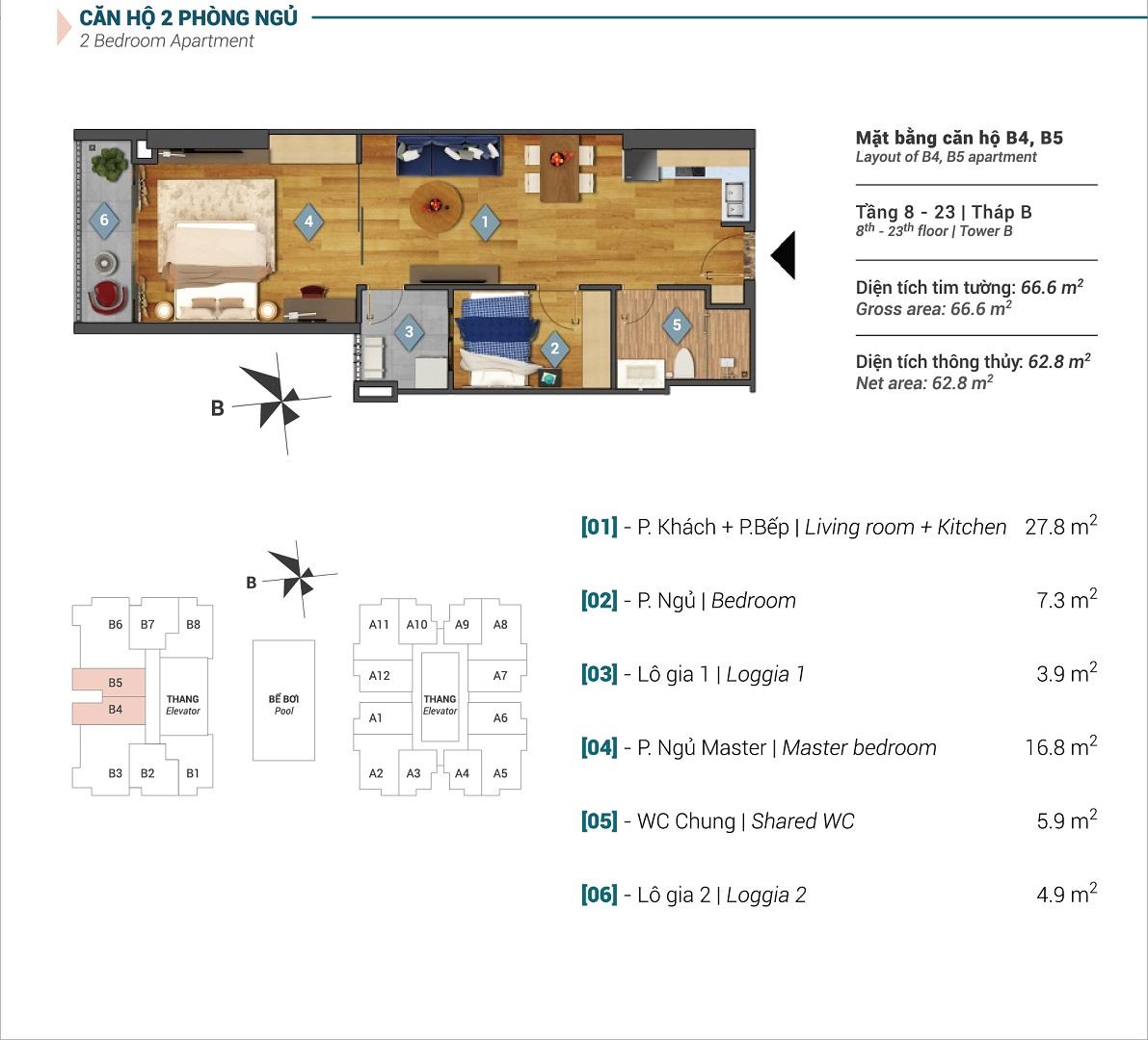 Mặt bằng căn hộ B4, B5 tòa B chung cư Sky Park Residence