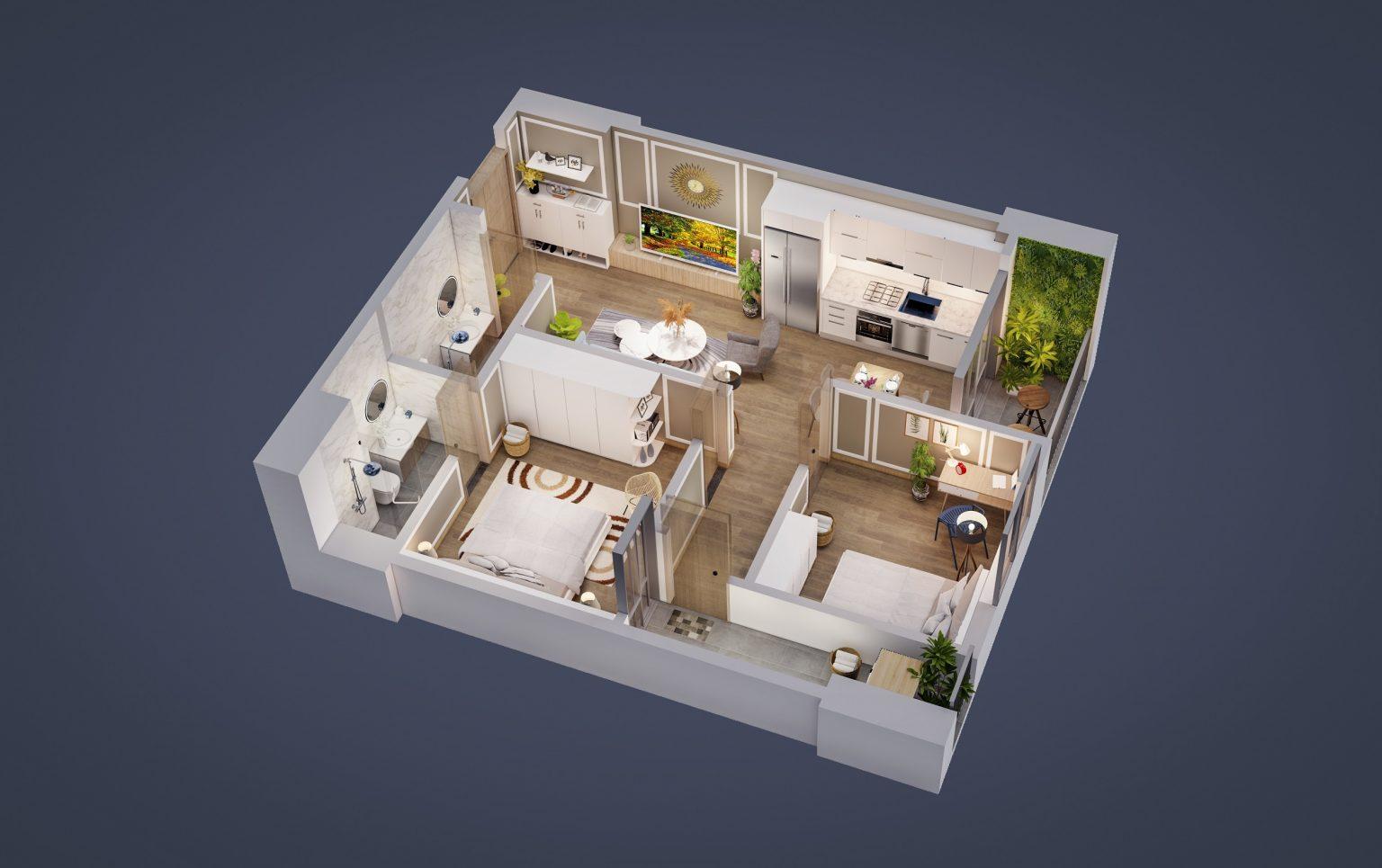 thiết kế tecco diamond căn hộ 2 ngủ