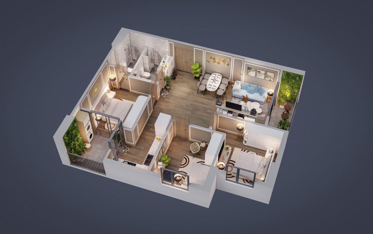 thiết kế tecco diamond căn hộ 3 ngủ