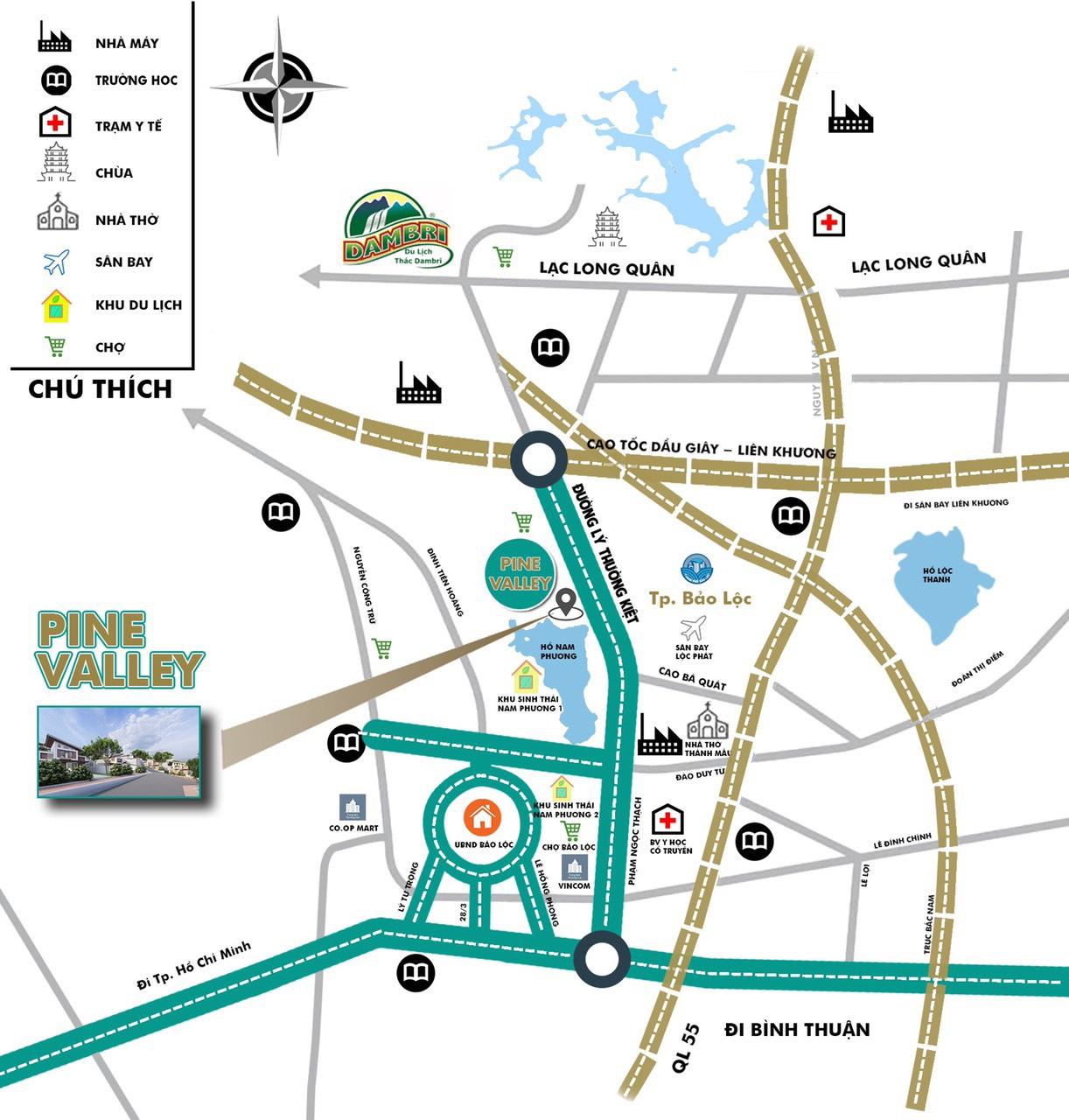 vị trí dự án pine valley bảo lộc