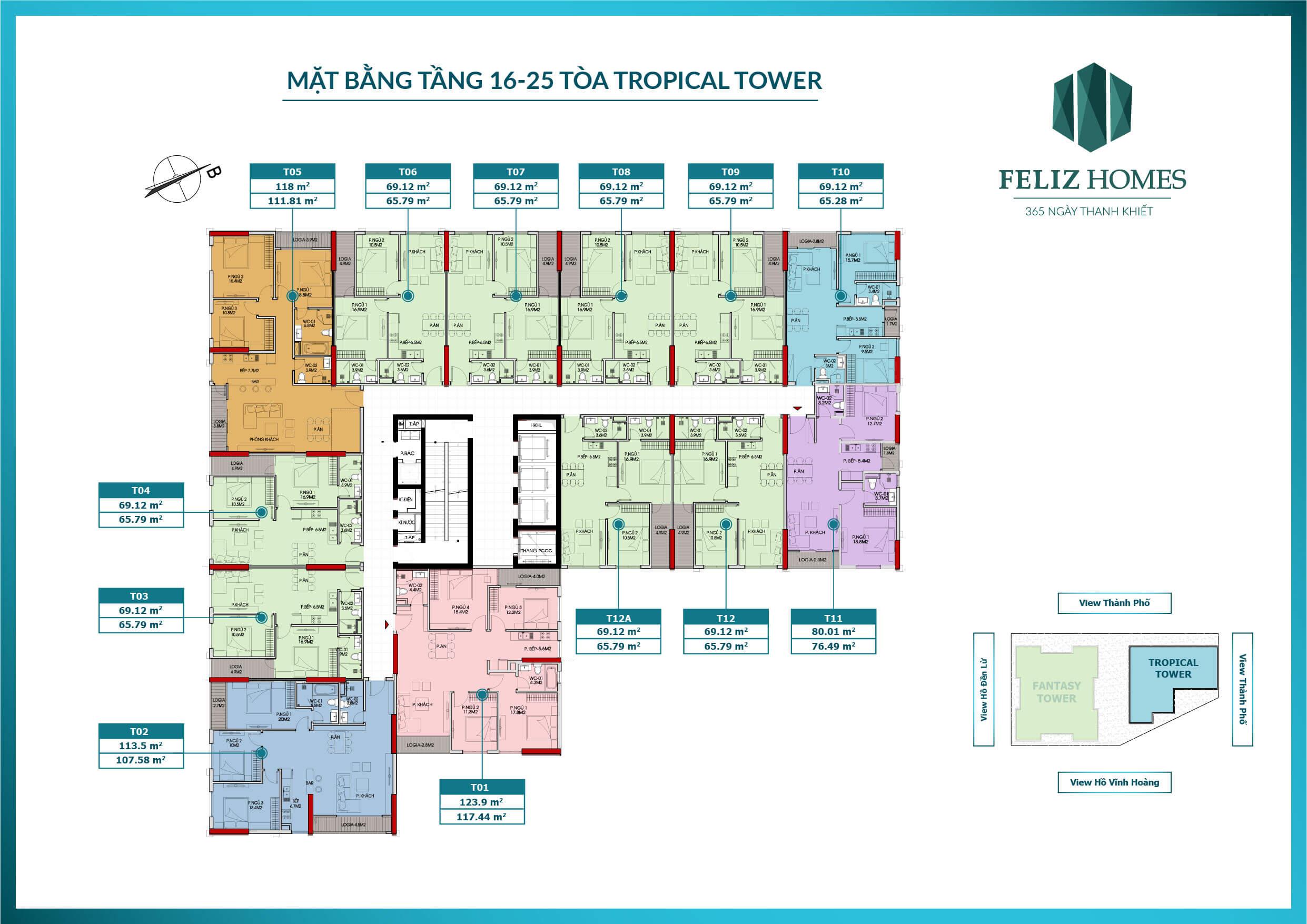 mặt bằng tòa tropical tower tầng 16-25