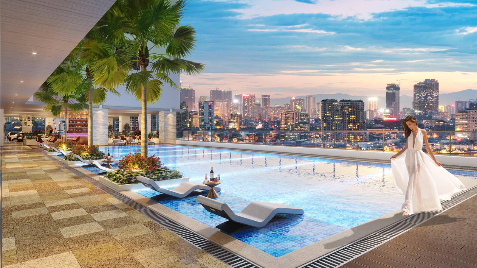 bể bơi dự án brg diamond residence 25 lê văn lương