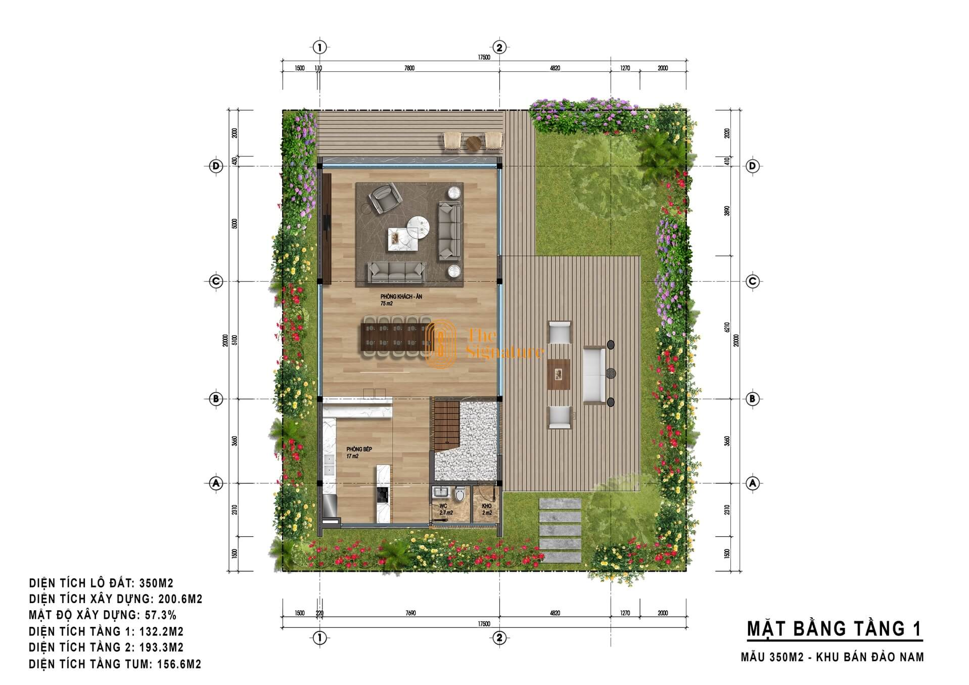 mặt bằng tầng 1 biệt thự the signature flamingo 350m2