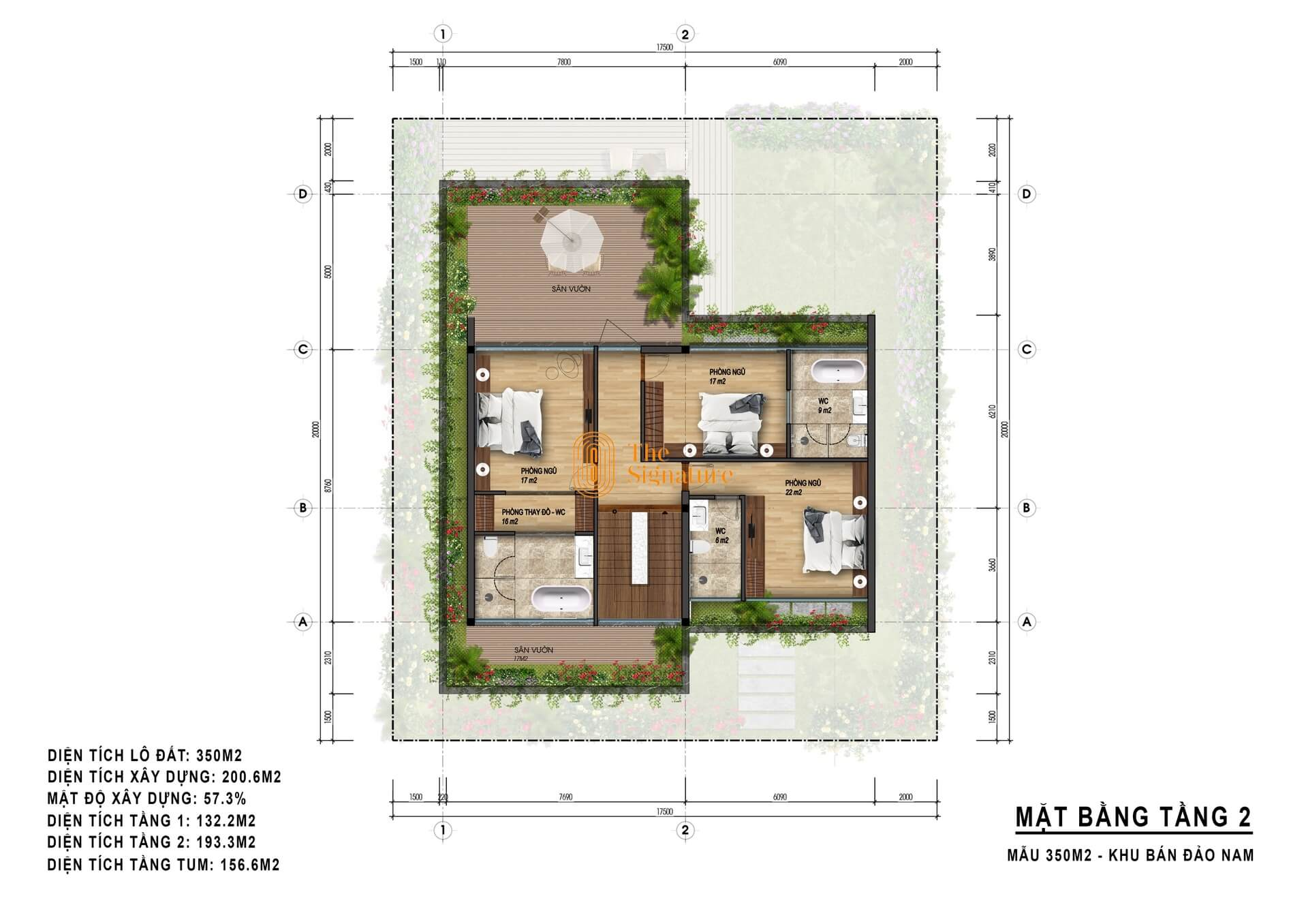 mặt bằng tầng 2 biệt thự the signature flamingo 350m2