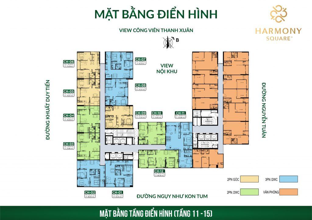 mặt bằng chung cư harmony square tầng 11-15
