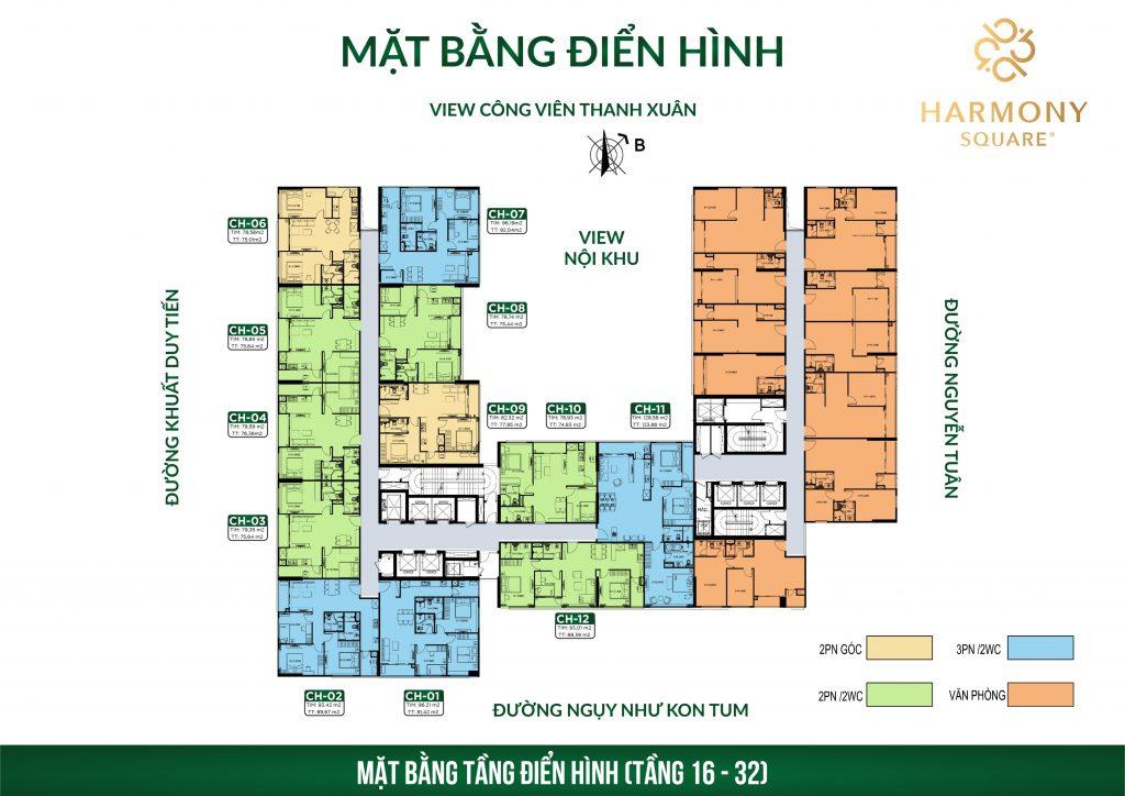 mặt bằng chung cư harmony square tầng 16-32