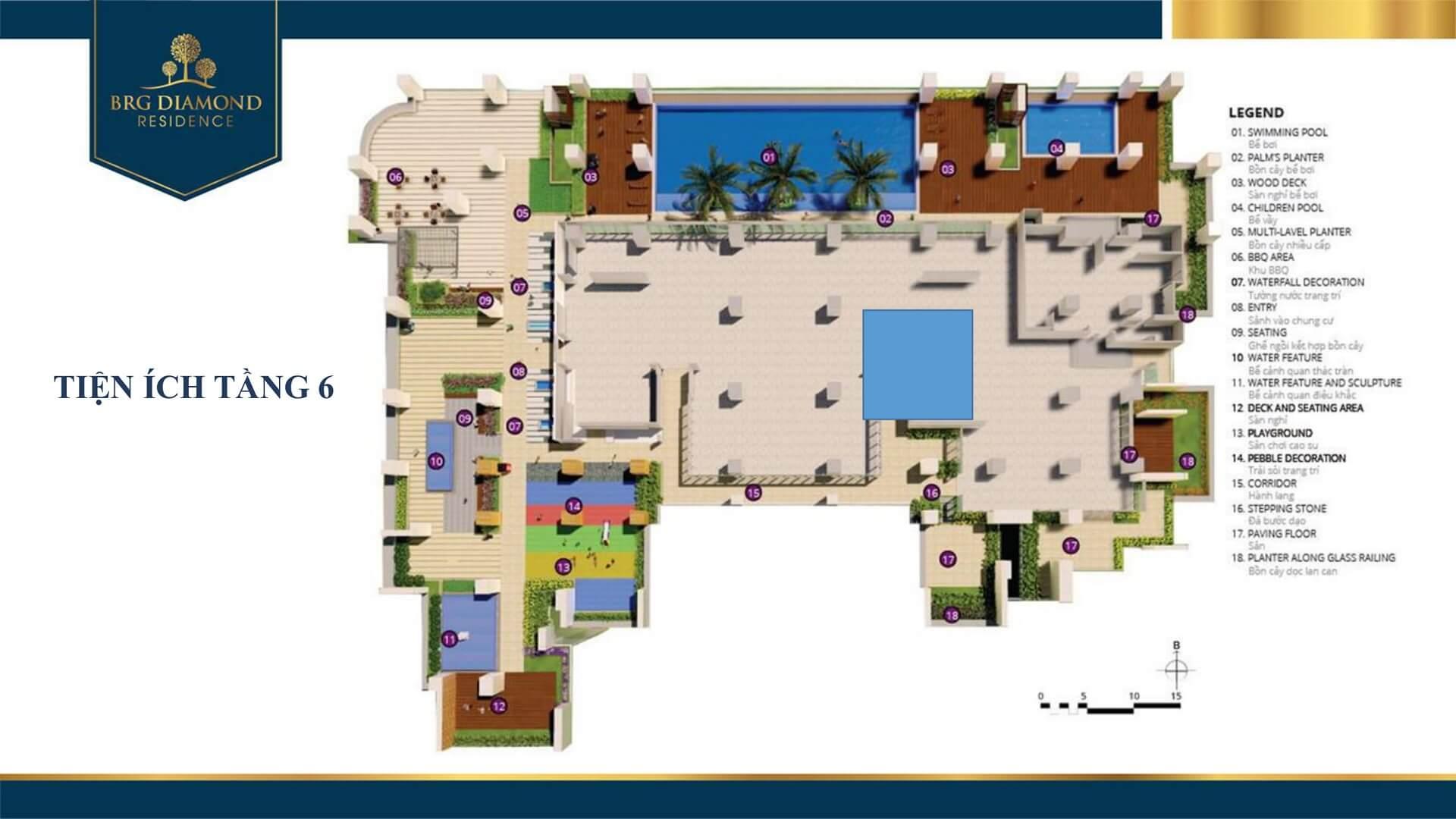 tiện ích tầng 6 dự án diamond residence