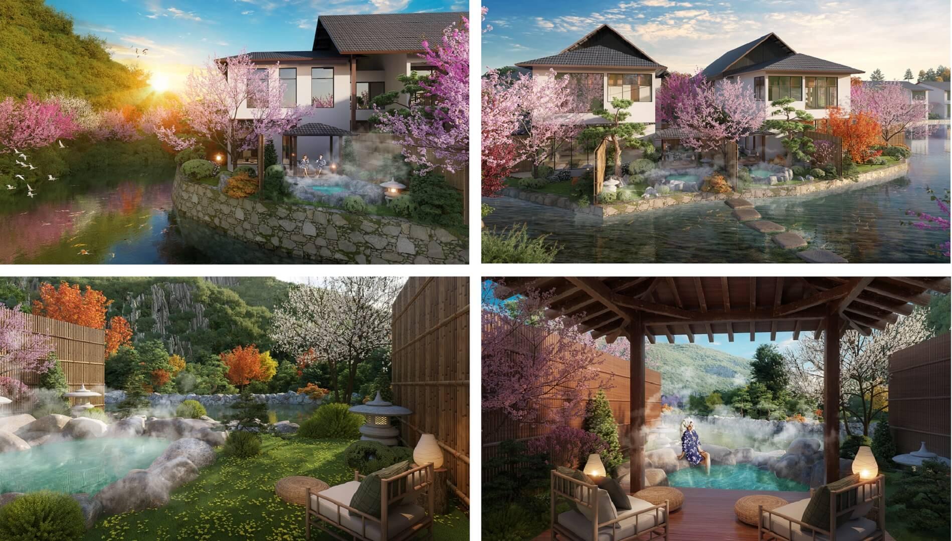 bể tắm tại biệt thự sun onsen village quang hanh