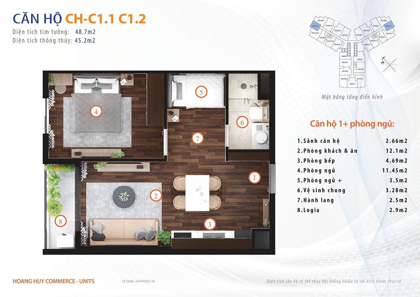 thiết kế căn hộ 1 ngủ 48m2