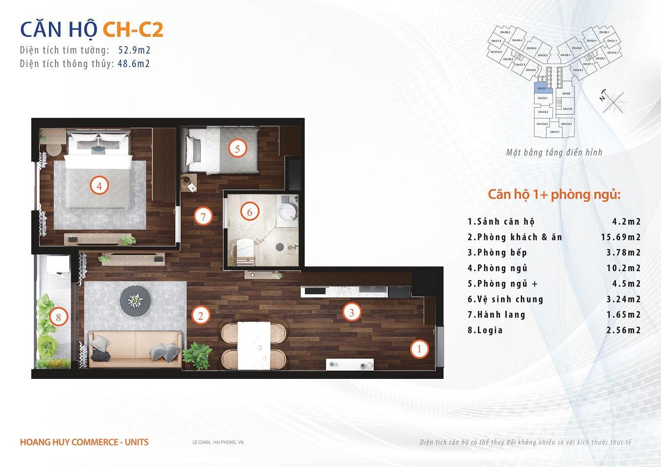 thiết kế căn hộ 1 ngủ 52m2
