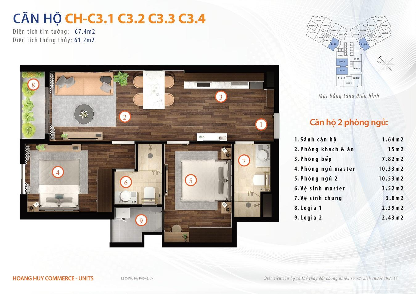 thiết kế căn hộ 2 ngủ 67m2