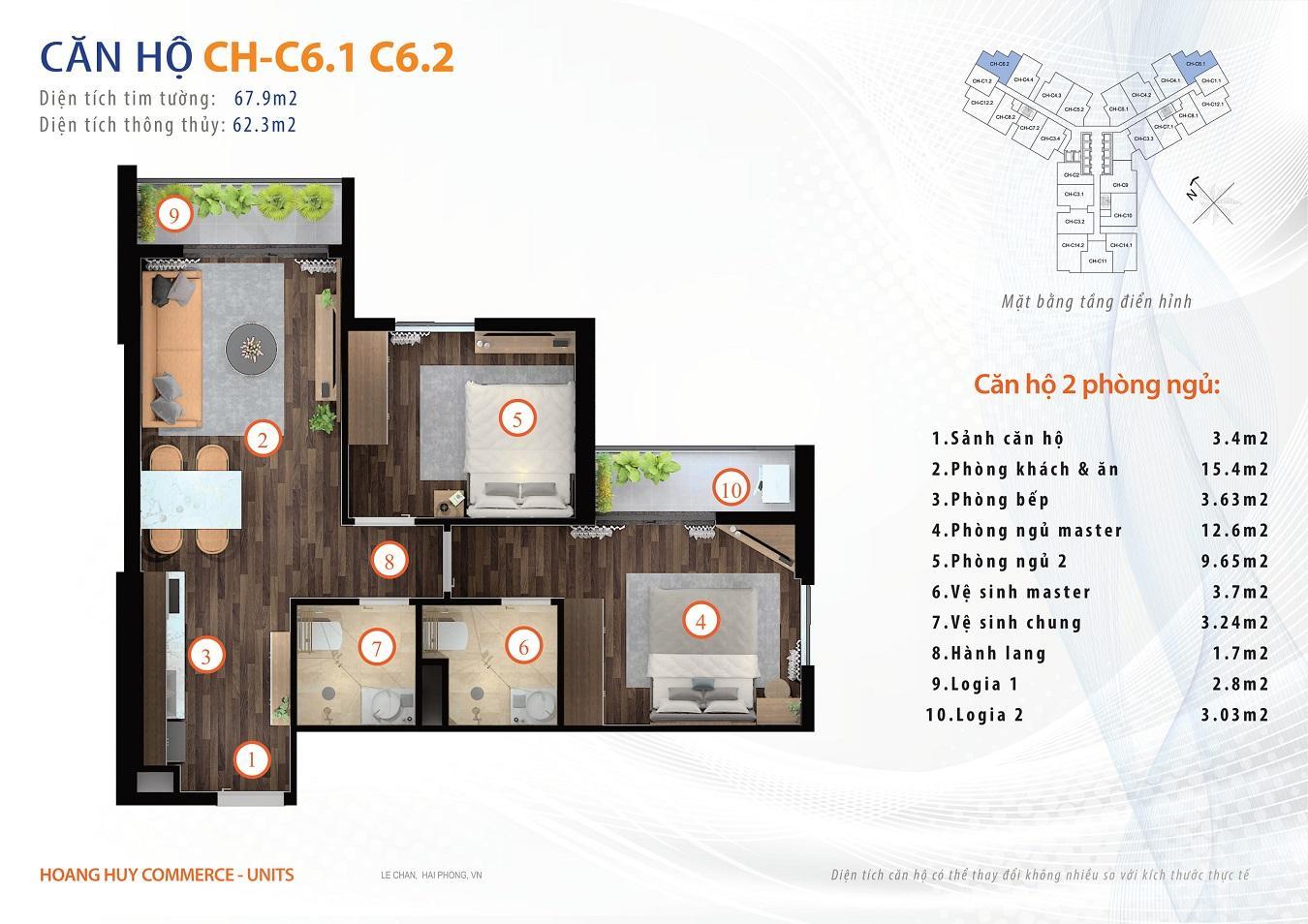 thiết kế căn hộ 2 ngủ 8m2