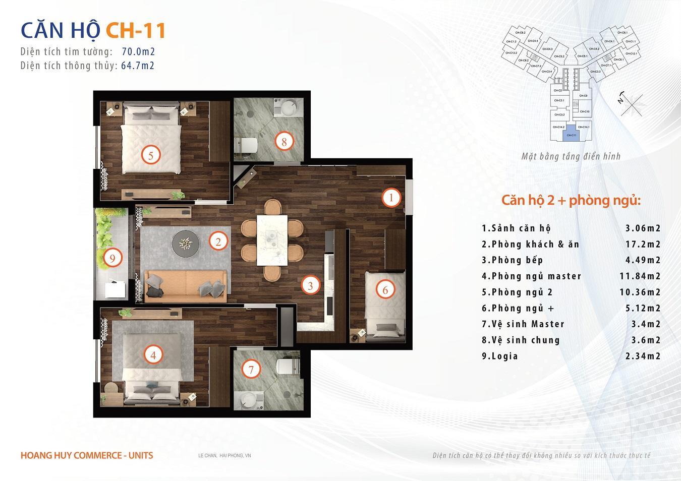 thiết kế căn hộ 2 ngủ 70m2