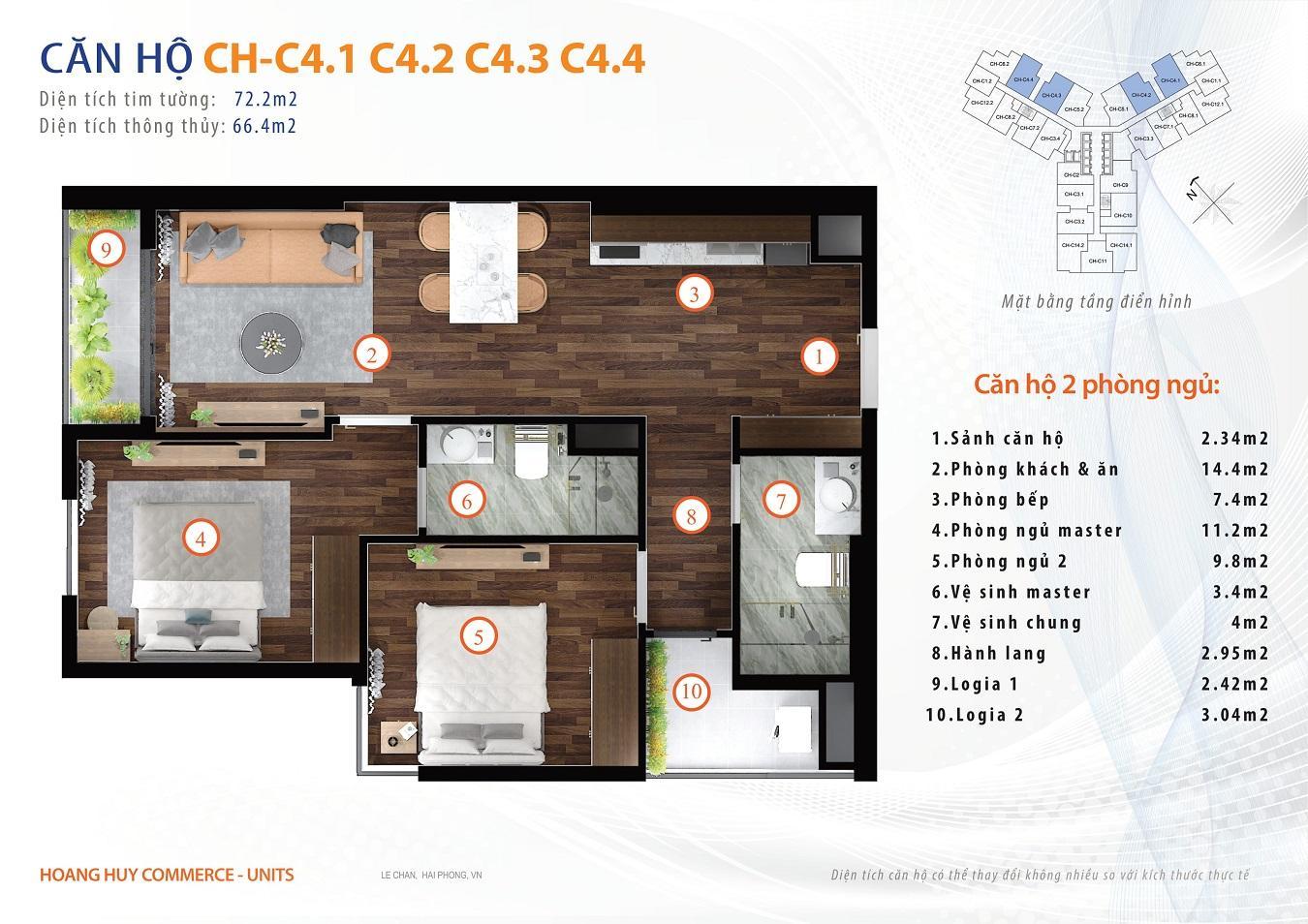 thiết kế căn hộ 2 ngủ 72m2
