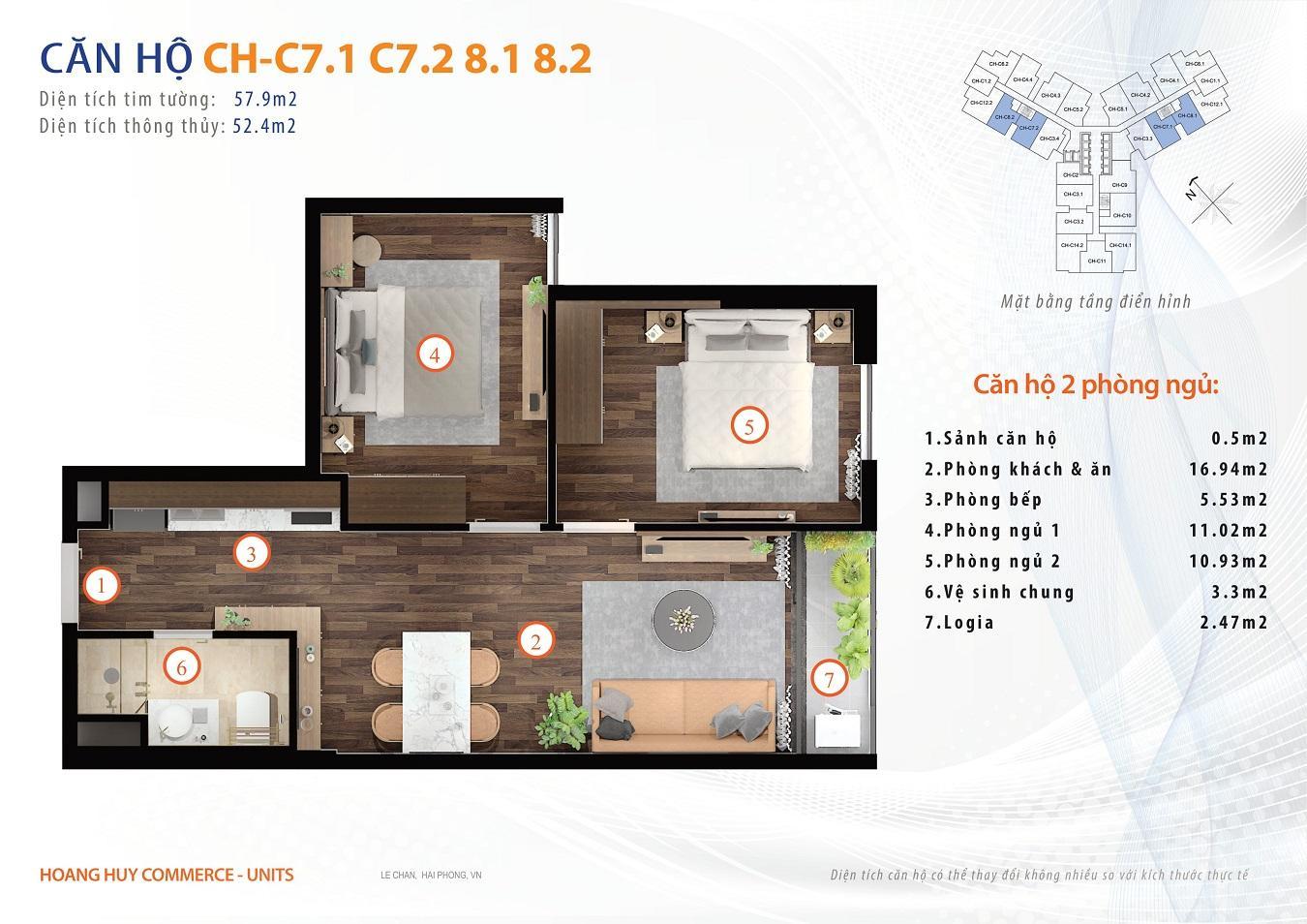thiết kế căn hộ 2 ngủ 58m2