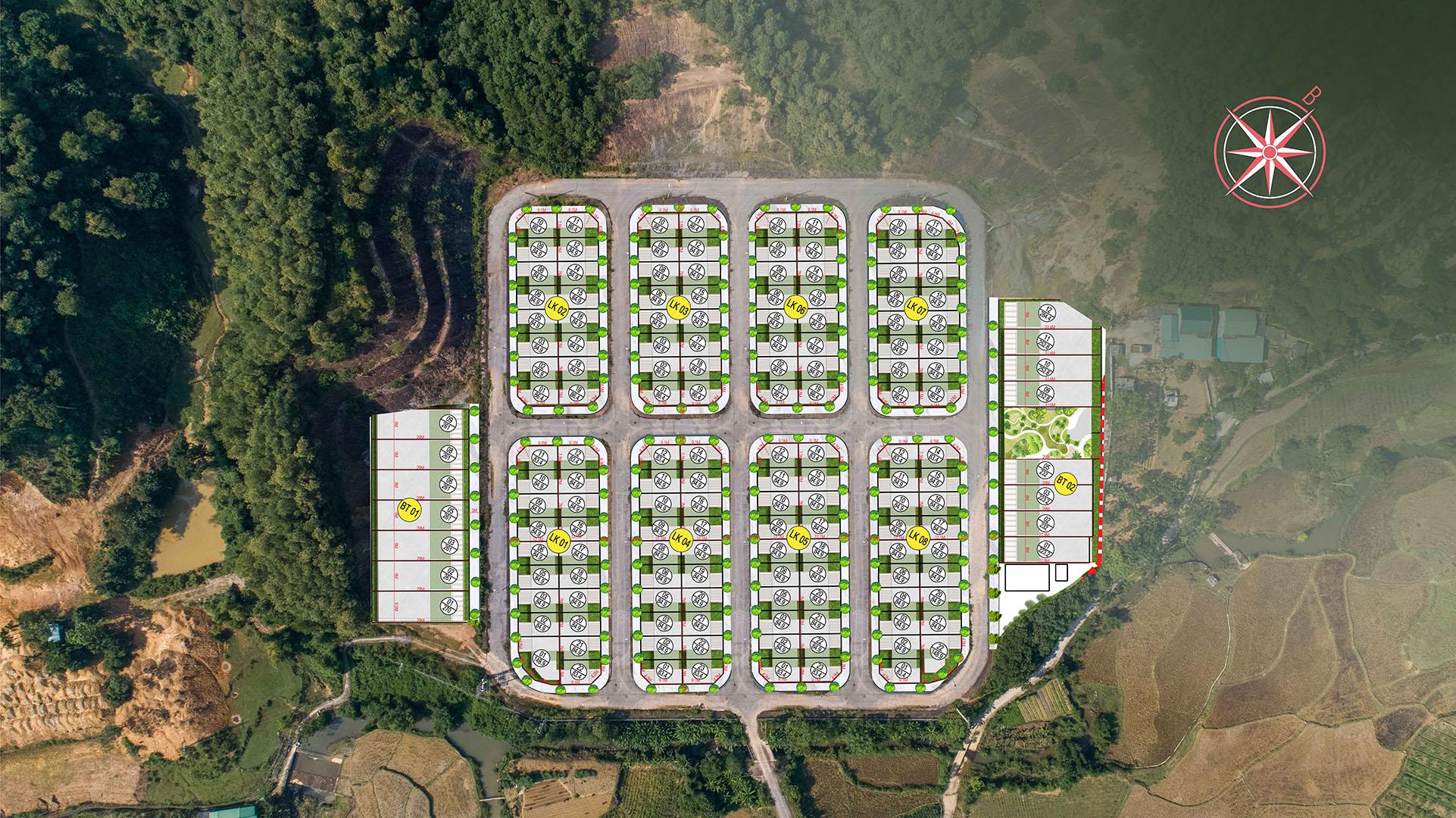 mặt bằng phân lô dự án hòa bình green valley