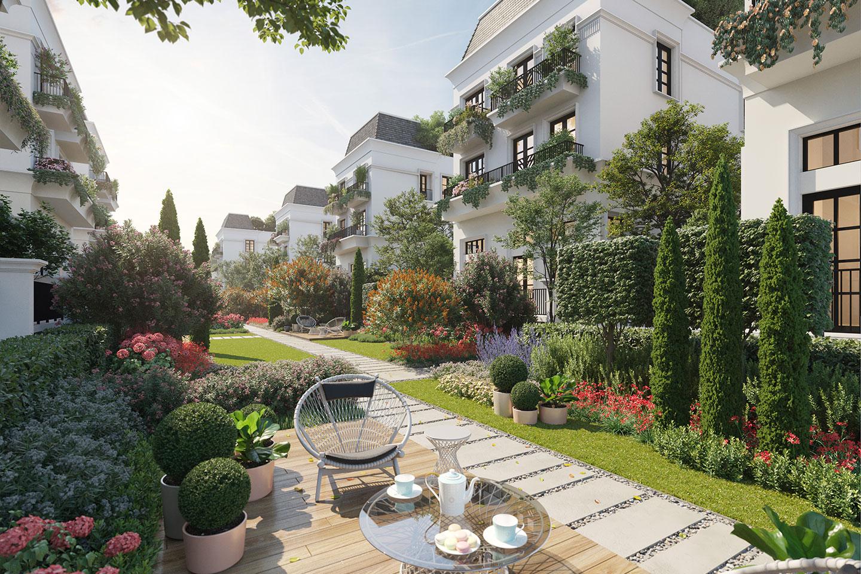 sân sau biệt thự le jardin garden villas