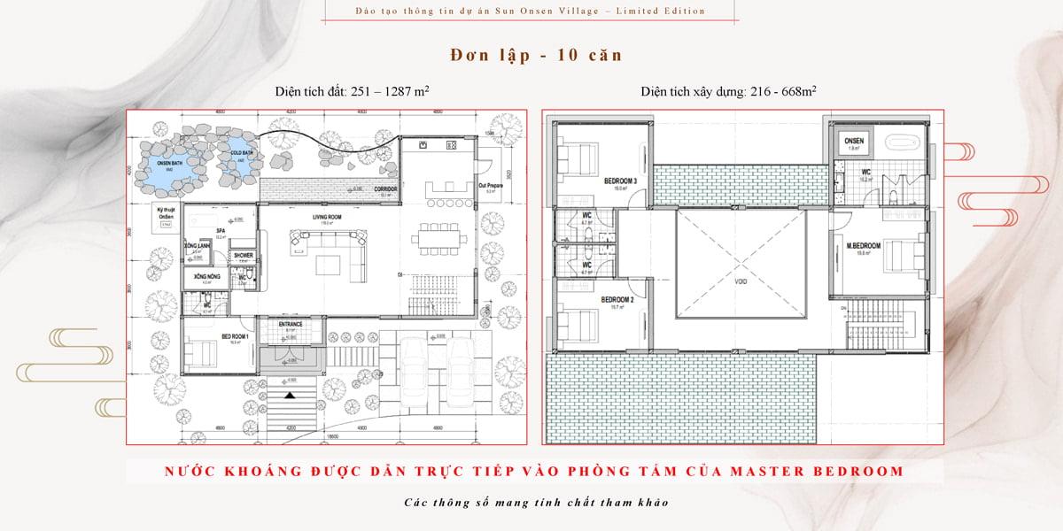 thiết kế biệt thự đơn lập sun onsen village quang hanh
