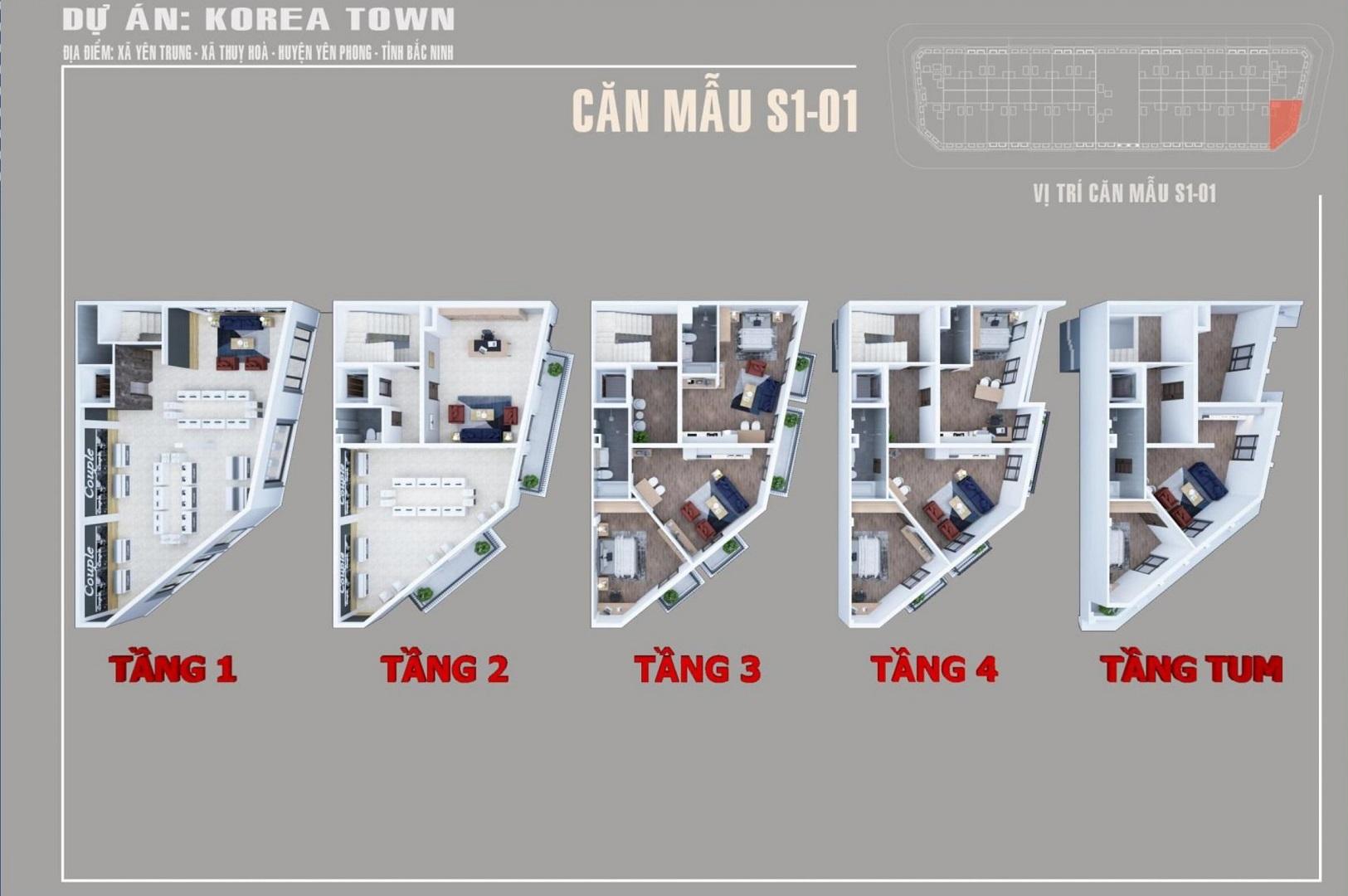 thiết kế shophouse korea town yên phong