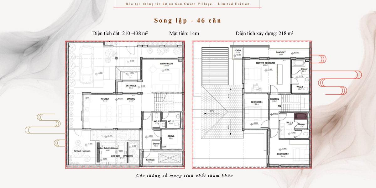 thiết kế biệt thự song lập sun onsen village quang hanh